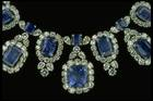 Close-up photograph of the Hall sapphire and diamond necklace (NMNH G8044)