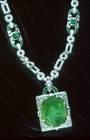 Mackay Emerald Necklace. Modified oval brilliant-cut medium blue green beryl (var. emerald) (167.97 ct) in a necklace. Lot described as