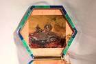 Intarsia Box. Intarsia box-cut various rhodochrosite in a box. Lot described as