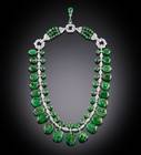 Photograph of the Post Emerald Necklace (NMNH G5023), digitally enhanced by SquareMoose for a 2017 jewelry publication by the Hillwood Museum
