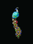 Opal Peacock Brooch. A brooch featuring modified-pear-shaped-cabochon-cut, black opal. Described as