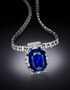 Bismarck Sapphire Necklace. A necklace featuring cushion-mixed-cut, medium-dark-blue sapphire. Described as