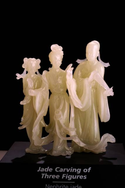 Carving of 3 Figures, Nephrite Jade