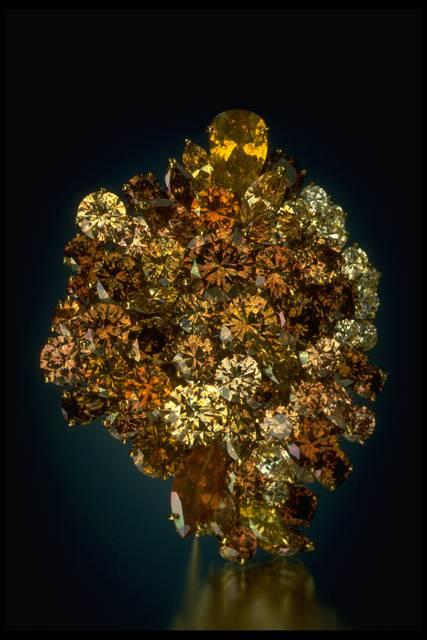 Photograph of the Wilkinson yellow diamond brooch (NMNH G7106)