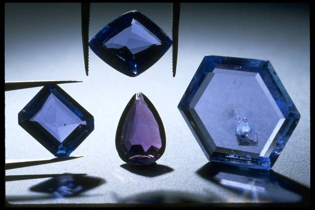 Photograph of four Yogo sapphires from Montana