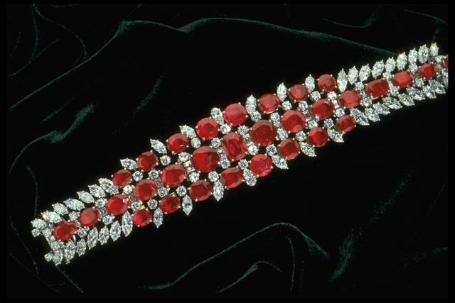 Photograph of a ruby and diamond bracelet (NMNH G5020) from the National Gem Collection