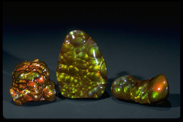 Photograph of three fire agates (NMNH G10009, G10001, and G10006) from the National Gem Collection