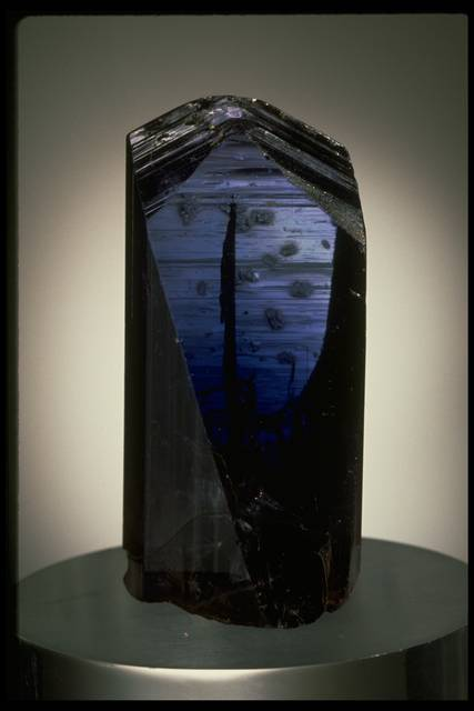 Photograph of a tanzanite (123896) from the National Mineral Collection that displays blue-to-purple pleochroism. In this photo, the crystal is blue.