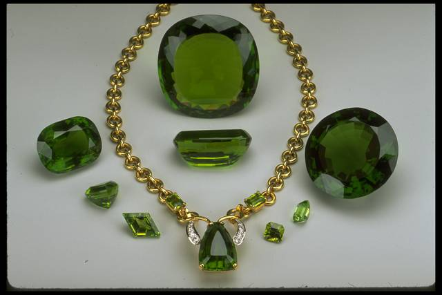 Photograph of a group of peridots from the National Gem Collection