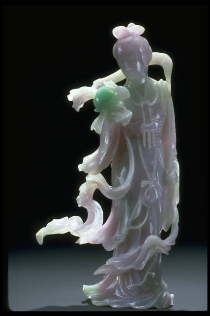 Photograph of a carved jade female statue (NMNH G3564) from the National Gem Collection