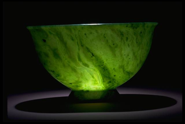 Photograph of a nephrite jade bowl (NMNH G9716) from the National Gem Collection