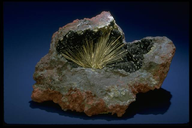 Photograph of a millerite crystal spray (NMNH C24) from the National Mineral Collection