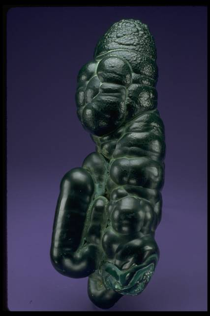 Photograph of malachite stalagmite (NMNH C6489) from the National Mineral Collection