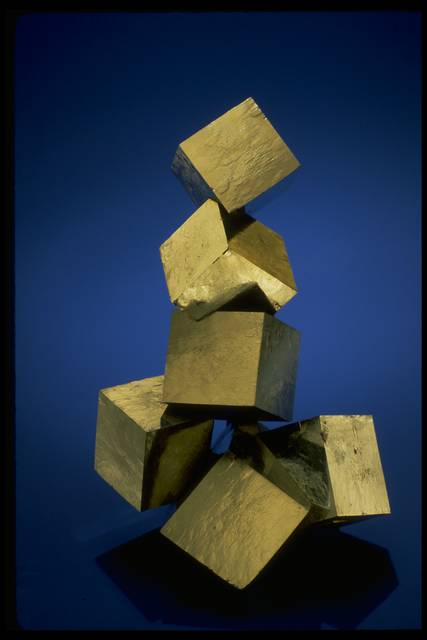 Photograph of pyrite stacked cubes (NMNH R18657) from the National Mineral Collection