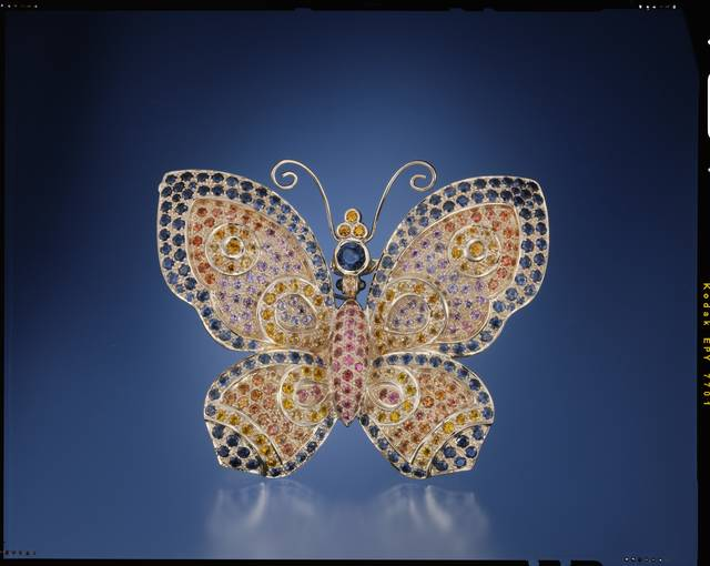 Photograph of the Conchita Sapphire Butterfly (NMNH G10539) from the National Gem Collection courtesy of Robert Kane, Fine Gems International. Photography by Harold & Erica Van Pelt