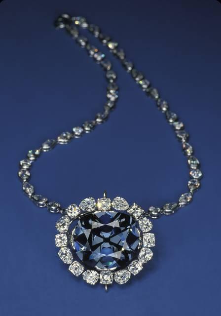 Hope Diamond on blue background