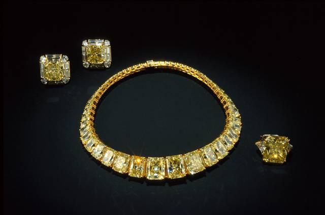 Hooker Yellow Diamond Necklace. Rectangular modified brilliant (