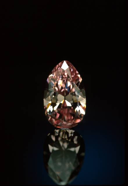 DeYoung Pink Diamond. Pear-shaped brilliant-cut light red purple diamond weighing 2.86 ct.