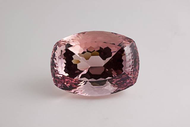 Cushion-cut pink beryl (var. morganite) weighing 448.64 ct.