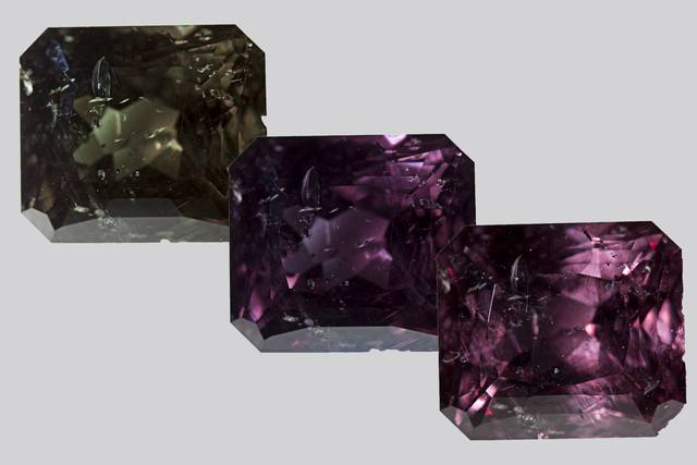 Composite image showing change from green to purple in a color-change garnet (NMNH G11432)