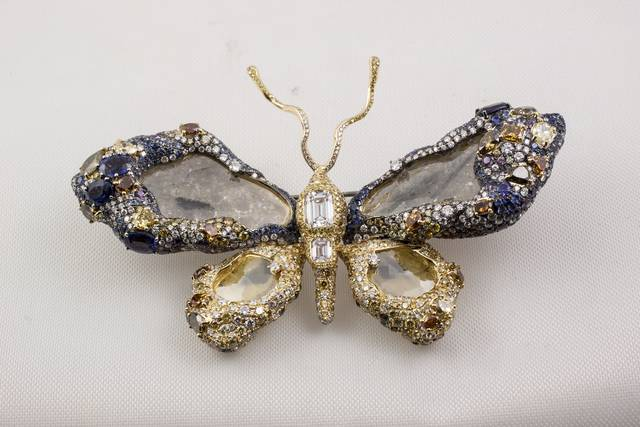 Royal Butterfly Brooch. Diamond in a pin. Lot described as