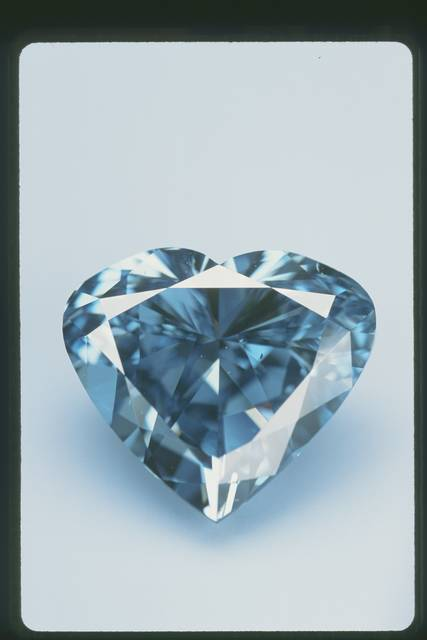 A heart-shapred blue diamond also known as the Heart of Eternity