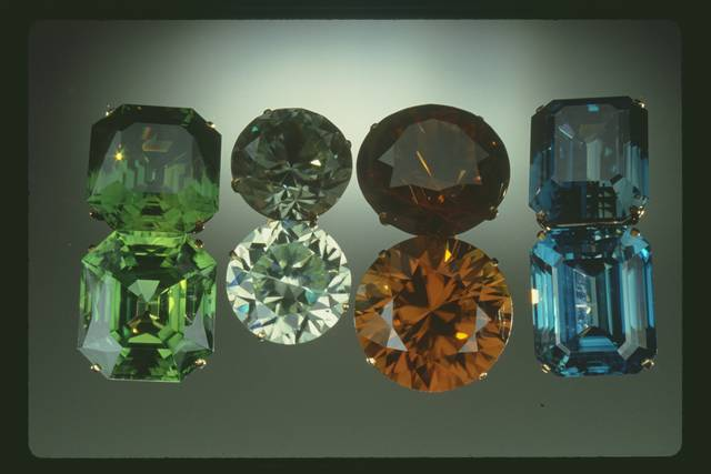 Heat treatment of natural reddish brown stones yielded these brilliant gems.