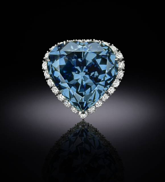 Photograph of the Blue Heart diamond (NMNH G4873), digitally enhanced by SquareMoose for a 2017 jewelry publication by the Hillwood Museum