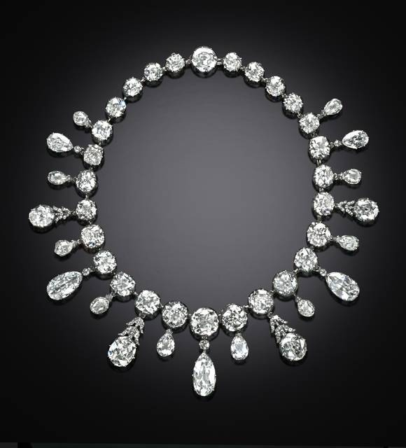 Photograph of the Napoleon diamond necklace (NMNH G5019), digitally enhanced by SquareMoose for a 2017 jewelry publication by the Hillwood Museum