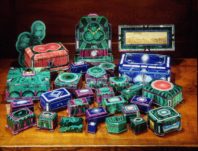 Medvedev intarsia boxes. Photo by Harold and Erica Van Pelt.