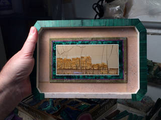 The inside lid of an intarsia box featuring picture jasper from Tuscany, Italy. Photo by Christine Webb.