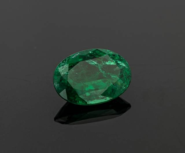 This oval cut gem is the first emerald from Ethiopia in the National Gem Collection. Found in 2016, it exhibits a beautiful deep green color and has had no clarity enhancements, like oiling, which are typical for faceted emeralds.