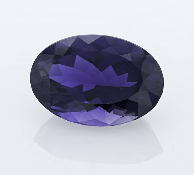 This 63.83ct iolite is the largest cordierite gem in the National Gem Collection.