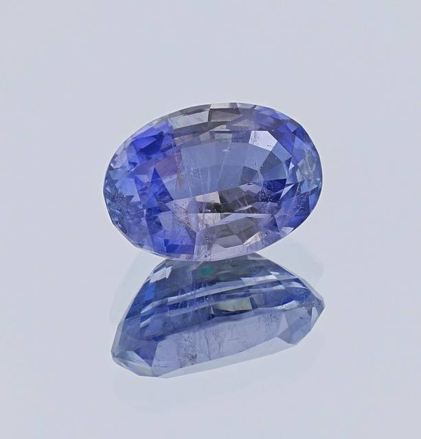 This oval cut jeremejevite from a 2001 find in the Erongo Mountains of Namibia weighs 11.30 carats. This gem is very rare because of its large size and blue color.