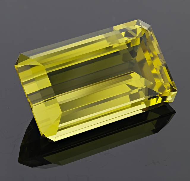 This deeply saturated heliodor is a natural slightly greenish-yellow color and is the largest heliodor from the Ukraine in the National Gem Colleciton.