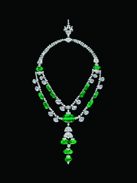 Maharaja of Indore Necklace. A necklace featuring beryl (var. emerald) from near Colombia. Described as