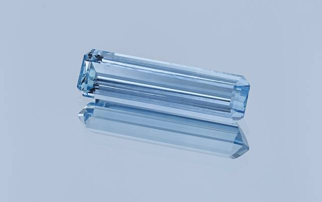 This elongated emerald cut aquamarine is the first from Vietnam for the National Gem Collection.