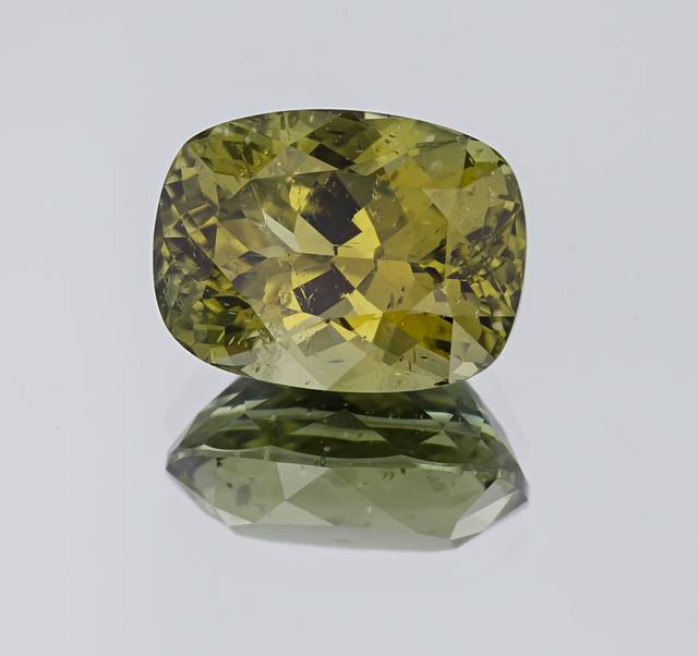 This 39.01ct apatite is from Madagascar and exhibits a yellowish-green color. It is the largest faceted apatite from this locality in the National Gem Collection.