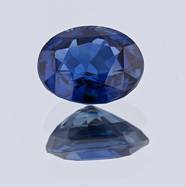Iron and titanium are responsible for the beautiful vivid blue color of this sapphire. It is the first sapphire from Nigeria for the National Gem Collection.