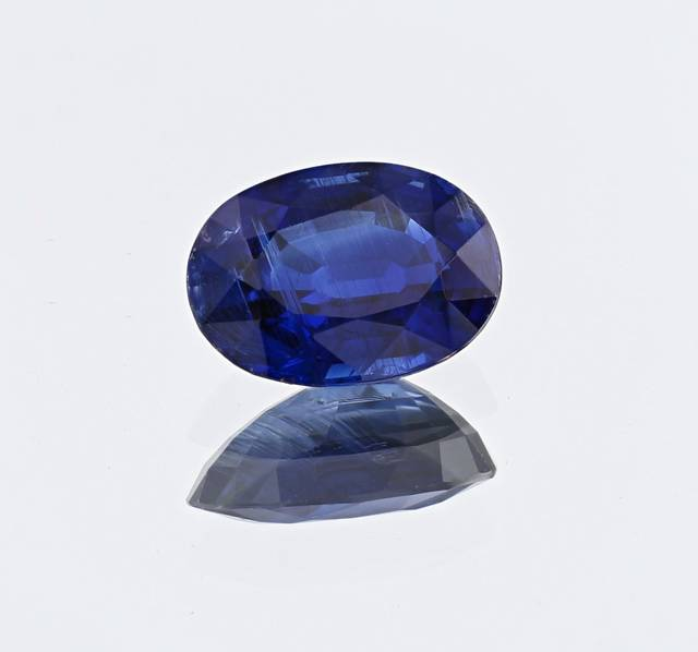 This 5.87ct gem is an intense deep blue color and a fine example of kyanites from Nepal in the National Gem Collection.