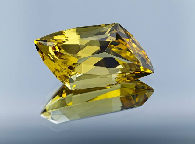 This gem is faceted in a skewed lozenge cut. This heliodor is from a locality not previously represented in the National Gem Collection.
