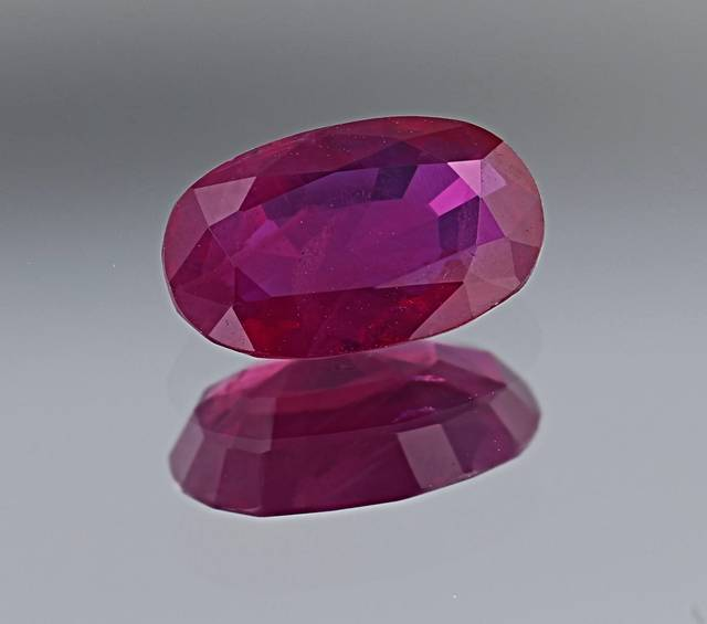 This corundum gem has a medium purplish-red color and is the first ruby from Afghanistan in the National Gem Collection.